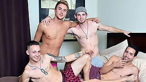 Straight Guys Explore Some In A Bareback Foursome