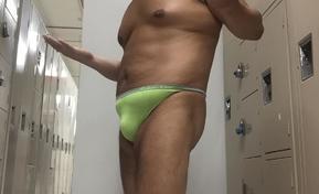 CK neon green thong YMCA